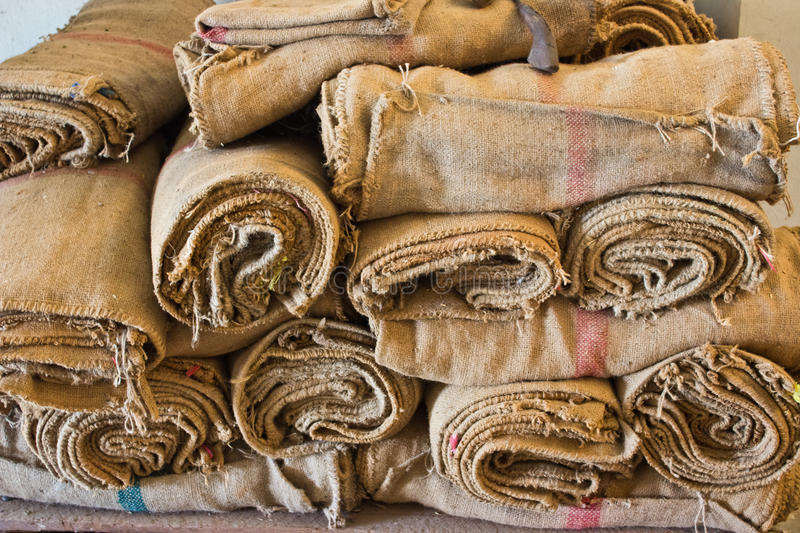 Brown hessian cloth. A close up shot of brown hessian cloth stock image