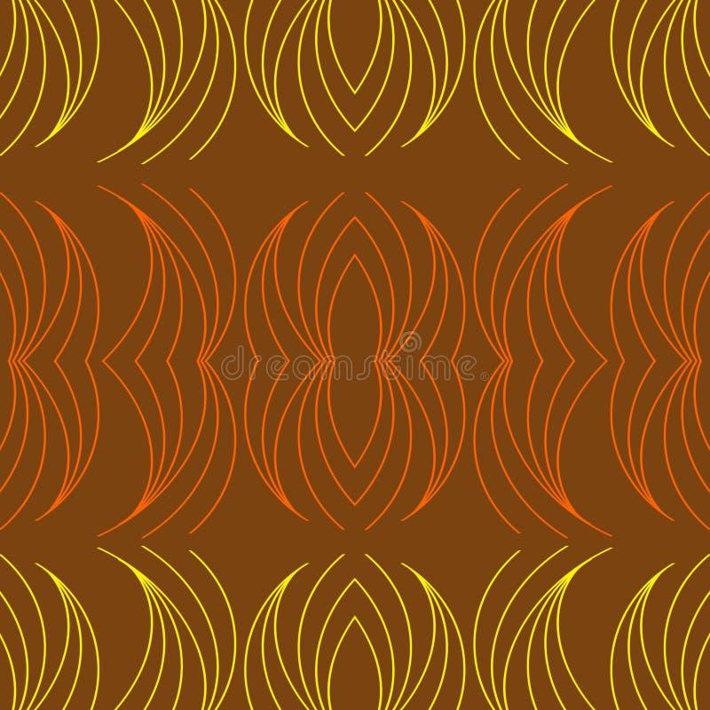 Brown-Hintergrund, Matrix der gelben und orange Linie Kurve lizenzfreie abbildung