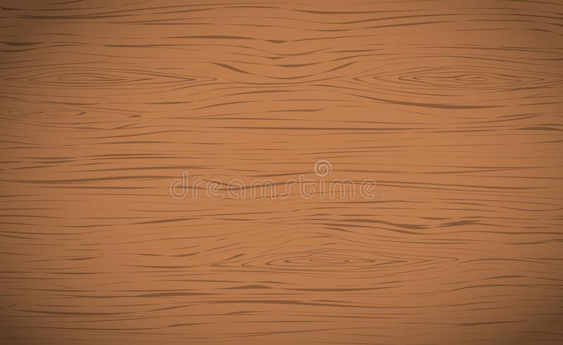 Brown horizontal wooden cutting, chopping board, table or floor surface. Wood texture stock illustration