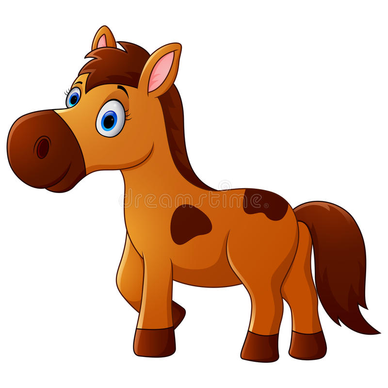 Brown horse cartoon vector illustration