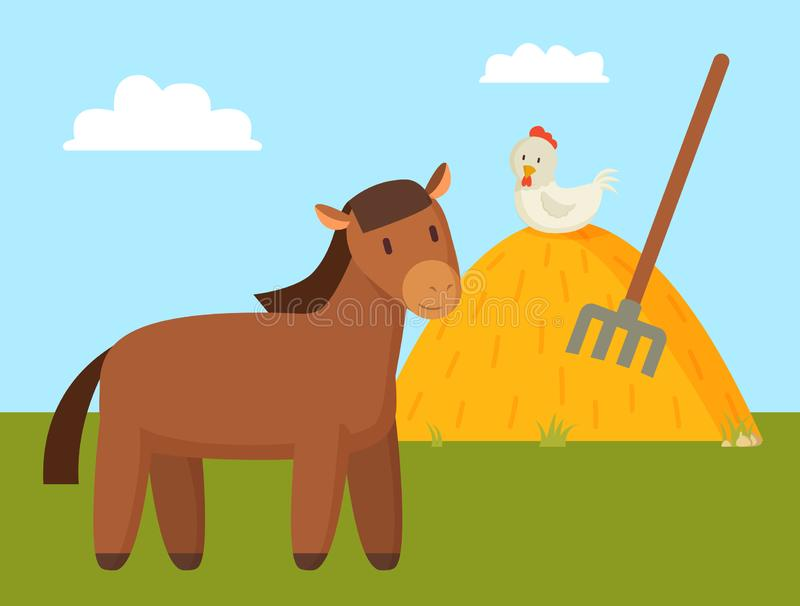 Brown Horse Grazing on Green Lawn Colorful Banner stock illustration