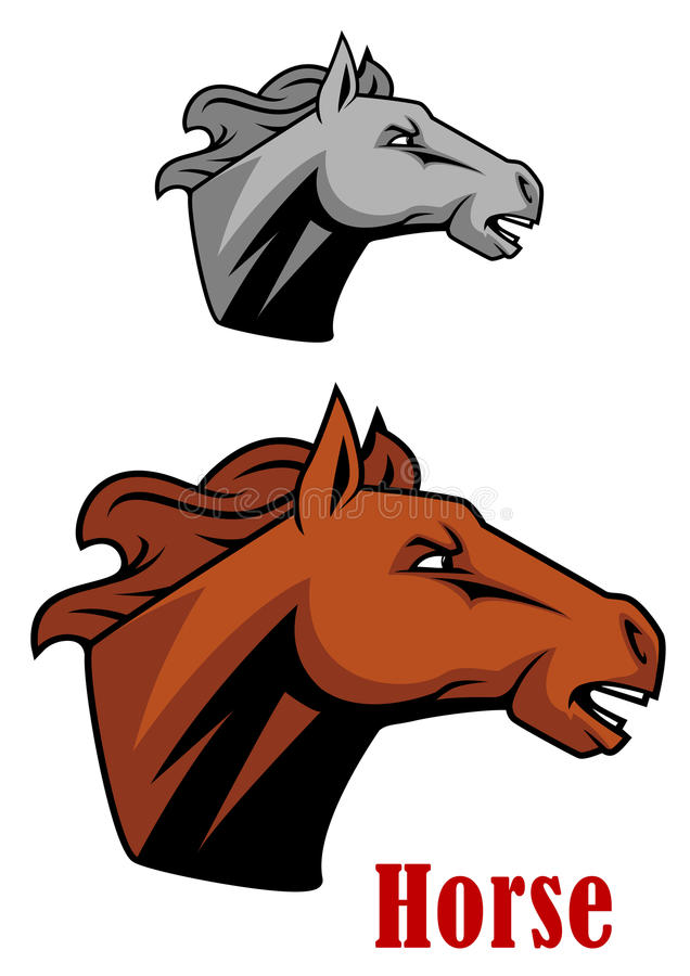 Brown horse head in profile. With fierce expression and open mouth as though neighing, with second grey variation vector illustration