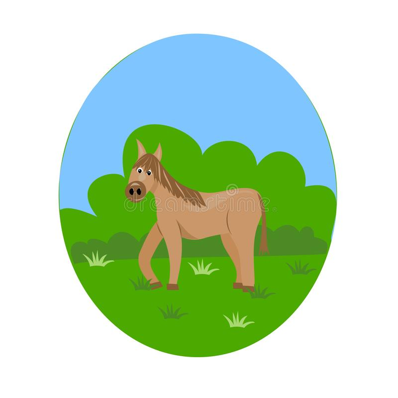 Brown horse on the lawn stock illustration