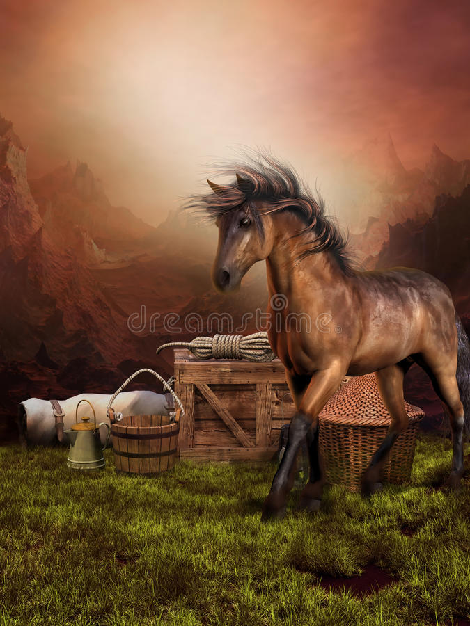 Free Brown Horse On A Meadow Royalty Free Stock Photography - 21837827