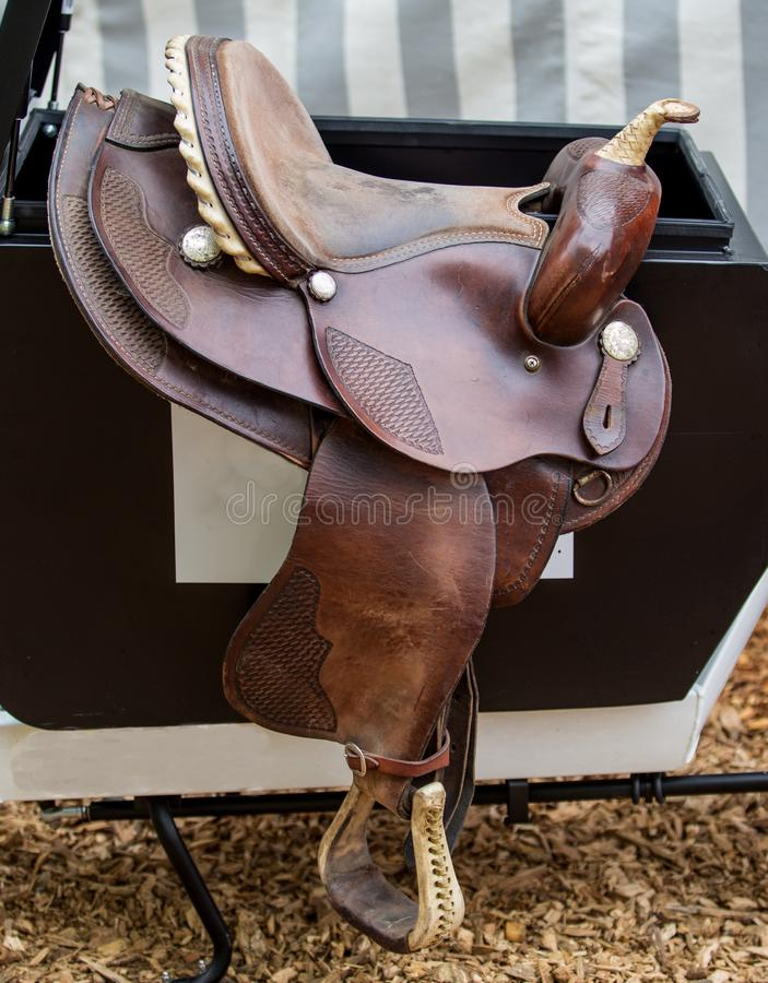 Brown horse`s Saddle royalty free stock photo