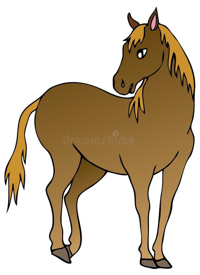 Brown horse on white background vector illustration