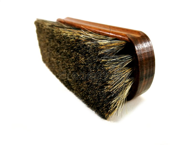 Brown horsehair brush for cleaning. royalty free stock photo