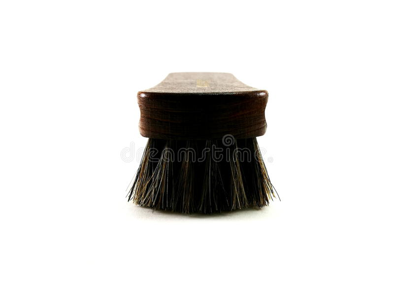 Brown horsehair brush for cleaning. stock image