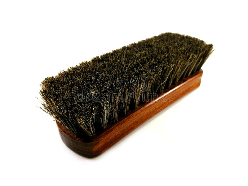Brown horsehair brush for cleaning. royalty free stock photography
