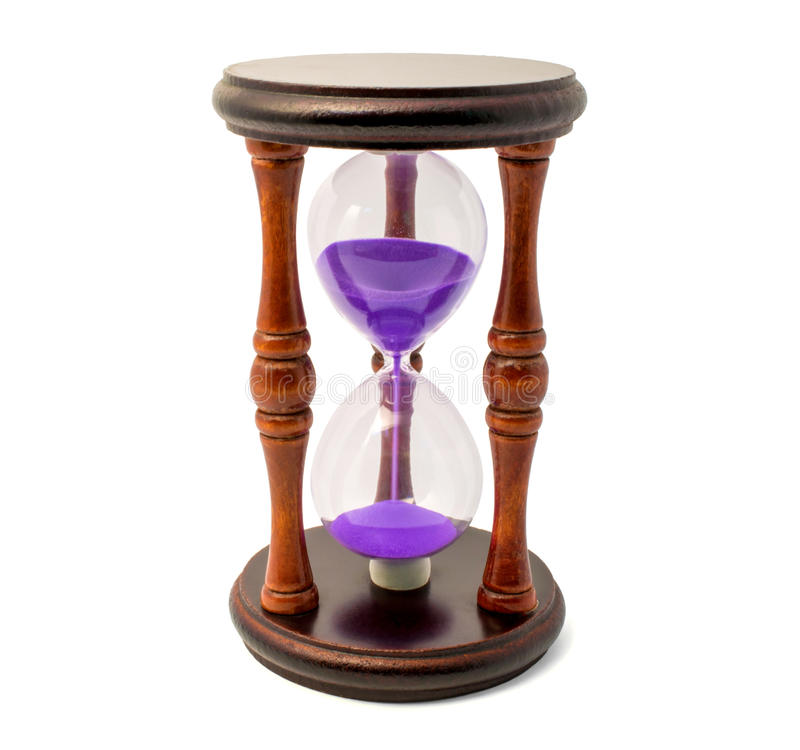 Download Brown Hourglass With Violet Sand Isolated On White Backghound Stock Photo - Image of process, hour: 93351498