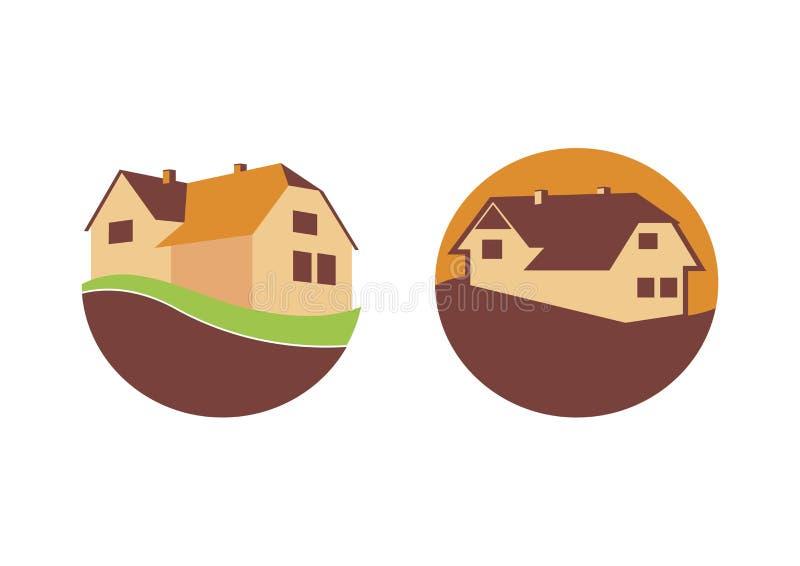 Brown House Logo icon set vector vector illustration