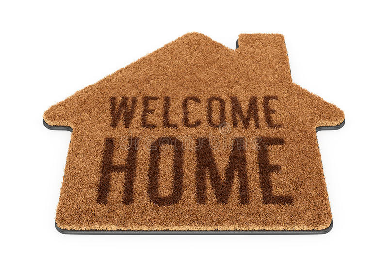 Brown House Shape Welcome Mat Stock Illustration