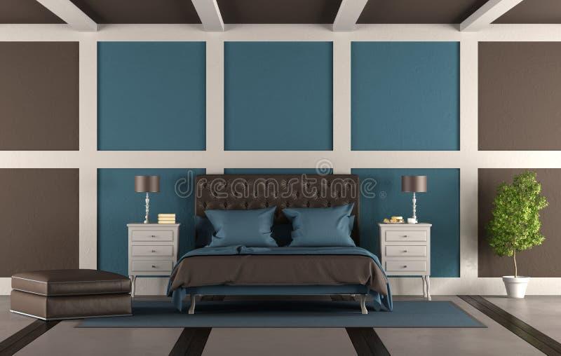 Brown i błękitna mistrzowska sypialnia ilustracji