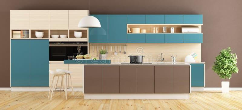 Brown i błękitna nowożytna kuchnia ilustracja wektor
