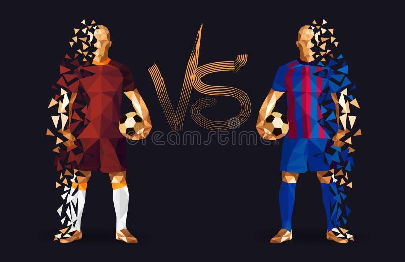 Brown i błękitni gracze piłki nożnej trzyma roczników futbol, represe ilustracji