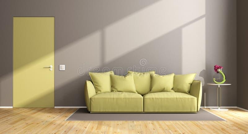 Brown i zielony żywy pokój ilustracja wektor