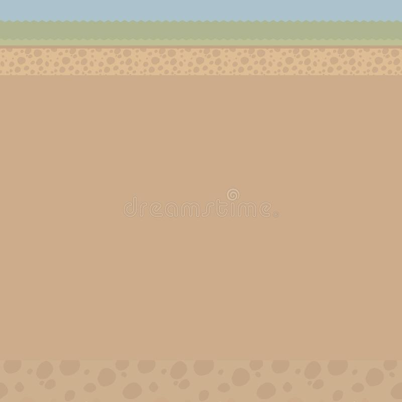Brown illustration of a cut of light soil under the ground with stones, grass, a strip of blue sky vector illustration with an are stock illustration