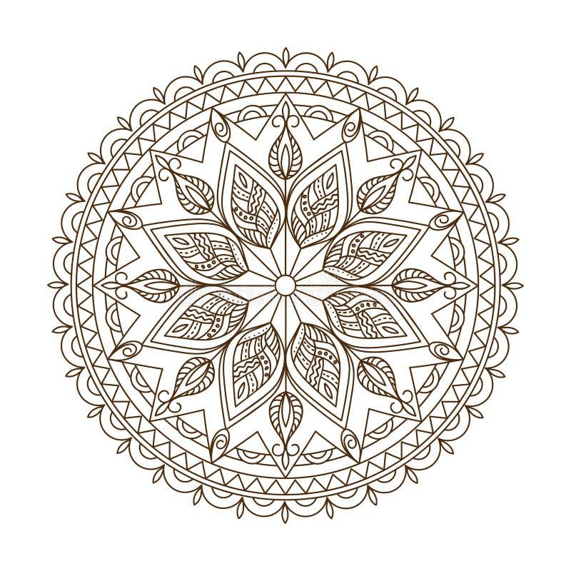 Brown a isolé le mandala d'arabesque avec des feuilles illustration libre de droits