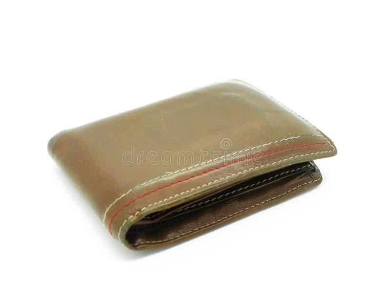 brown isolerad plånbokwhite royaltyfri fotografi