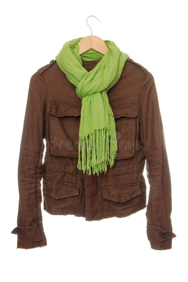 Brown jacket is isolated and light gree scarf with fringe, beaut stock image