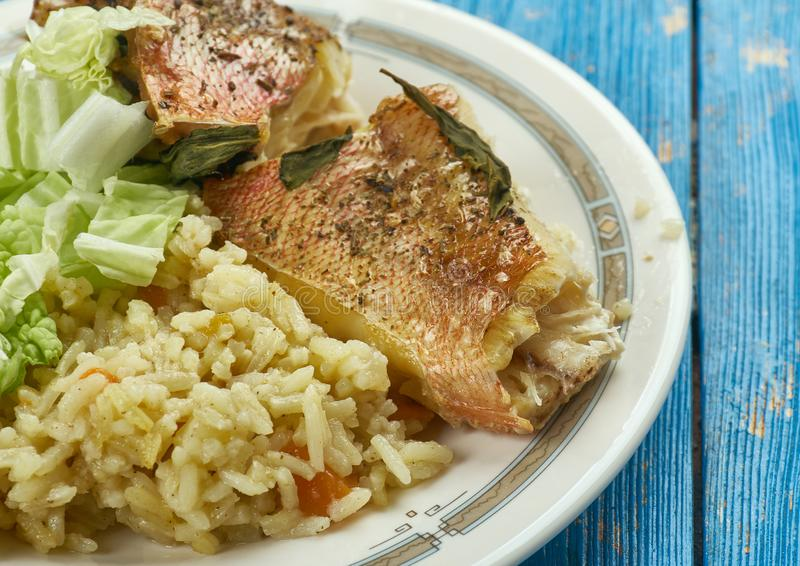 Brown jamaicano Stew Fish imagem de stock