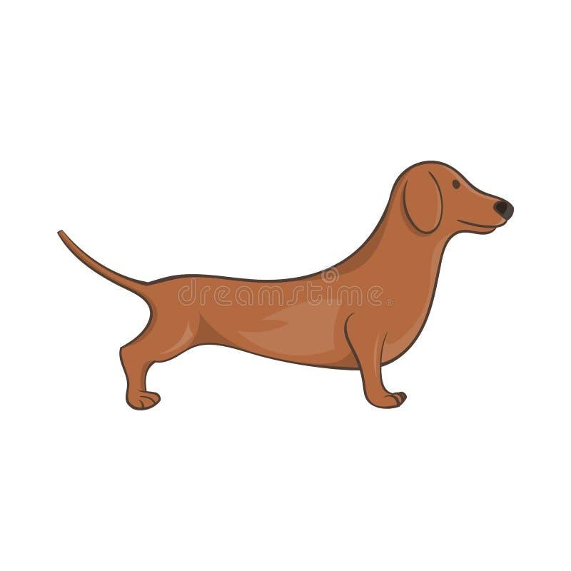 Brown jamnika psa ikona, kreskówka styl royalty ilustracja