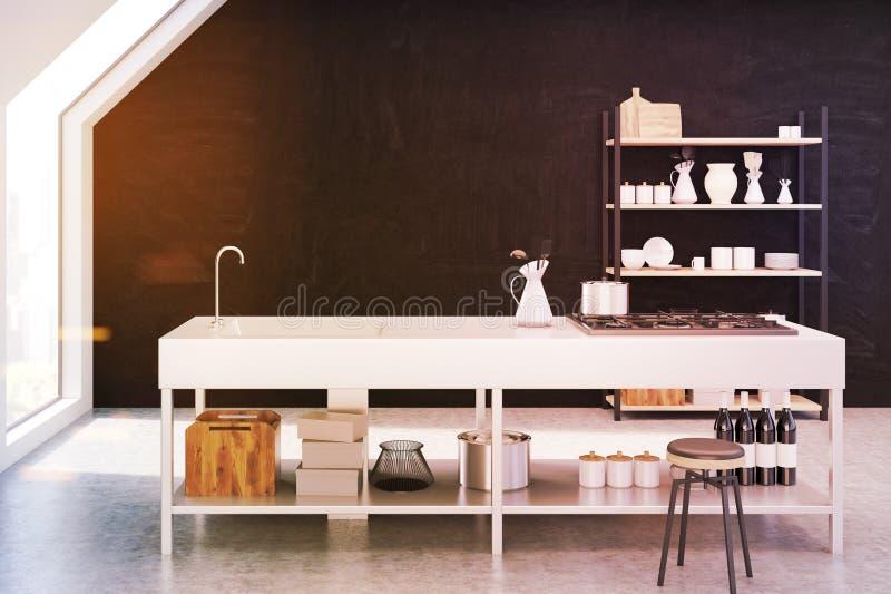 Brown-Kücheninnenraum stock abbildung