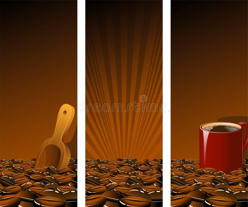Brown-Kaffee-Fahnen lizenzfreie abbildung