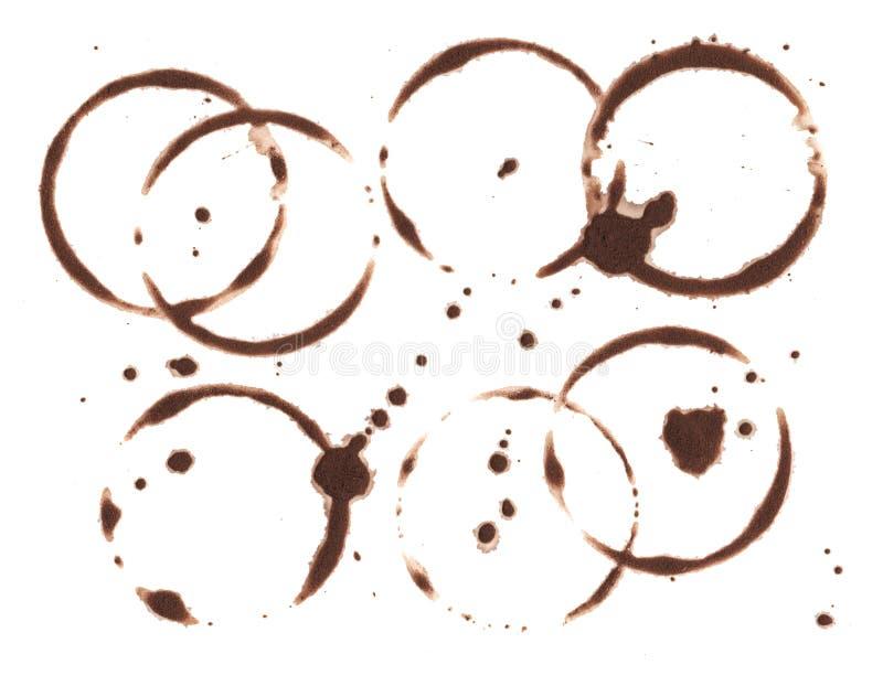 Brown-Kaffeekreis auf weißem Hintergrund Gestaltungselement des schwarzen Kaffees Nasses Schalenkennzeichen und plätschern C stock abbildung