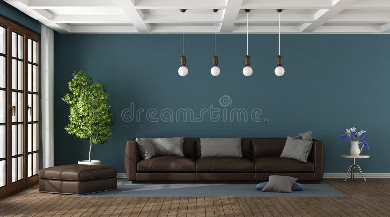 Brown kanapa w błękitnym żywym pokoju royalty ilustracja