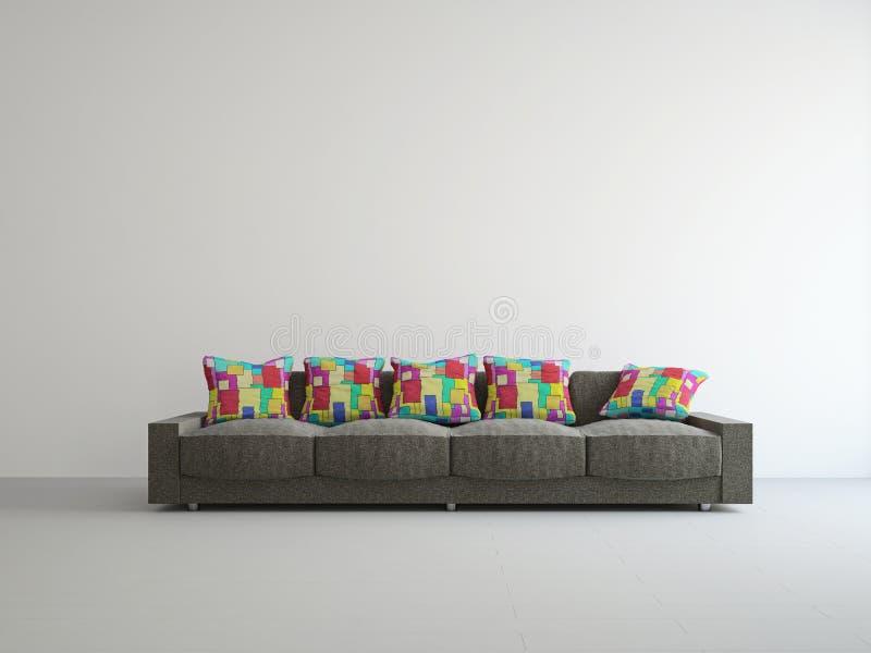 Brown kanapa z kolorowymi poduszkami royalty ilustracja