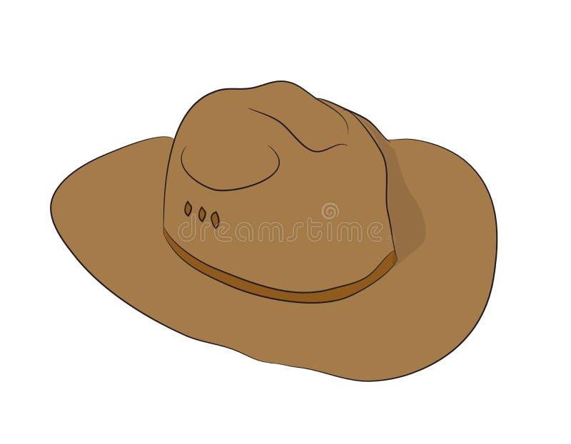 Brown kapeluszu kłamstwa rysujący, wektor ilustracji