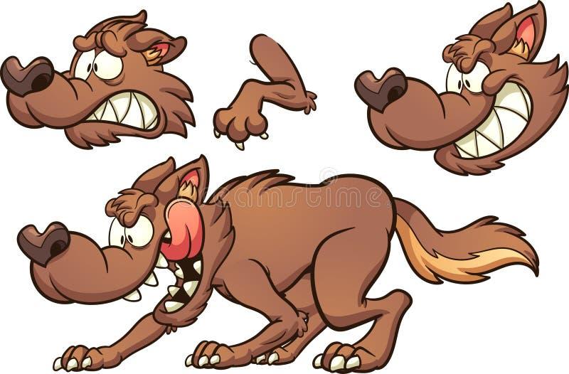 Brown-Karikaturwolf mit verschiedenen Ausdrücken lizenzfreie abbildung
