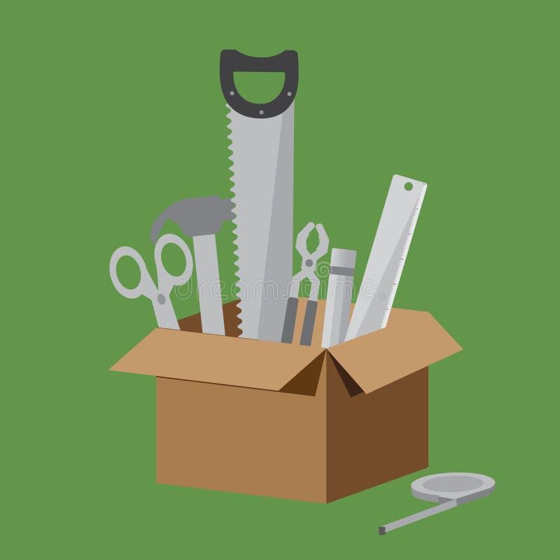 Brown-Kasten der Ausrüstungssammlung auf hellgrünem Hintergrund Schließen Sie Scheren mit ein, hämmern Sie, Säge, Zangen, Bleisti lizenzfreie abbildung