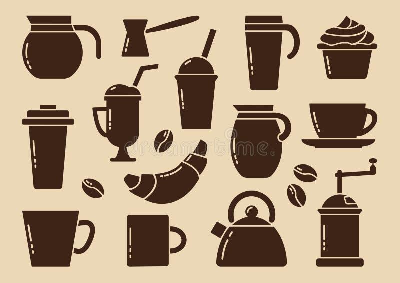 Brown kawy set wektor royalty ilustracja