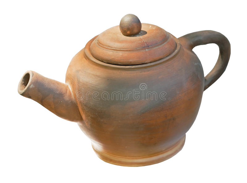 Brown kettle on white background. Brown kettle isolated on white background royalty free stock images