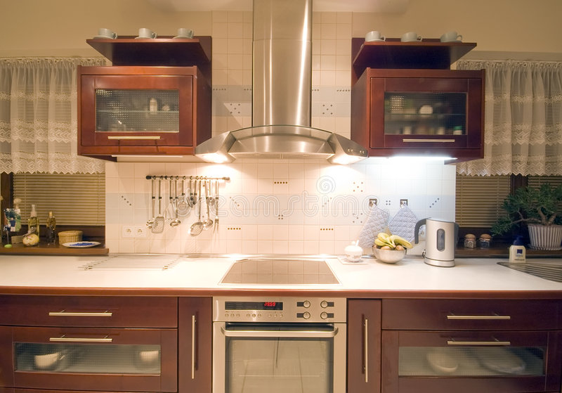 Brown kitchen interior stock photos
