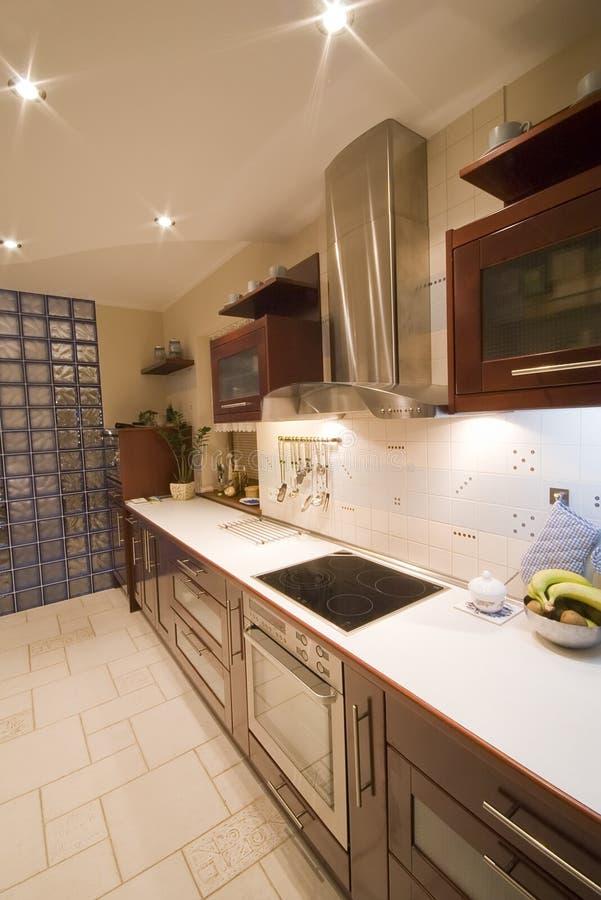 Brown kitchen interior stock photo