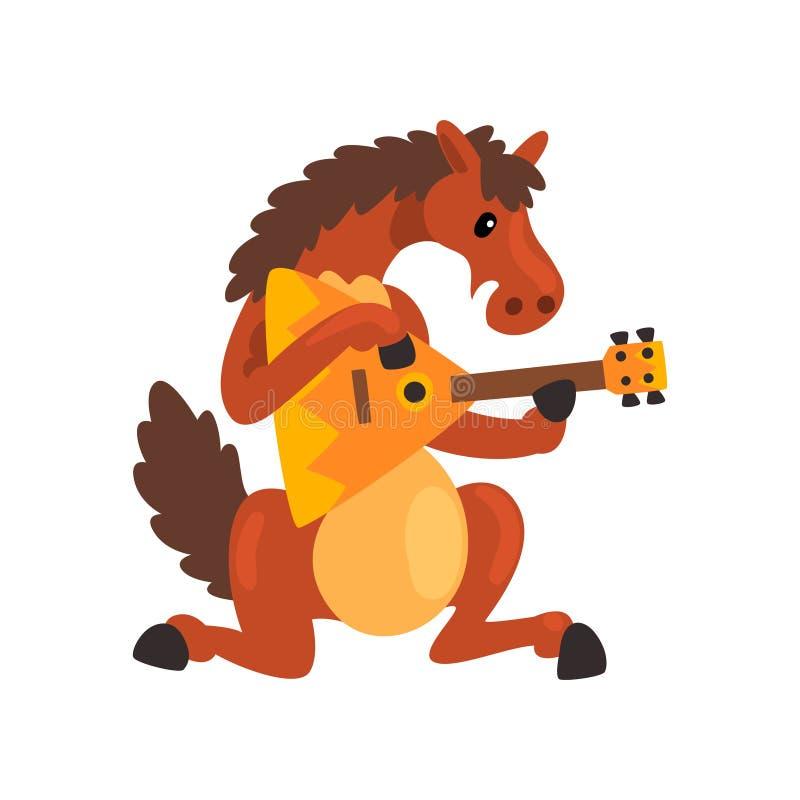 Brown koń bawić się bałałajkę, ślicznego muzyka zwierzęcy postać z kreskówki z instrument muzyczny wektorową ilustracją dalej royalty ilustracja