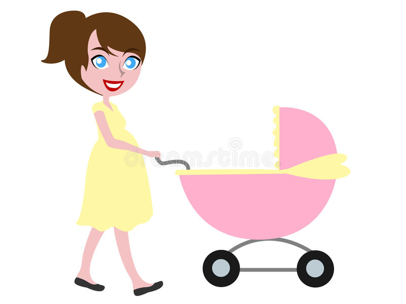 Brown kobieta w ciąży dosunięcia z włosami powozik ilustracji