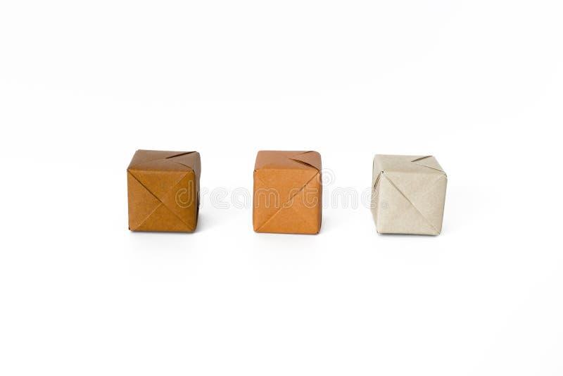 Brown kolor cieni origami sześciany obraz royalty free