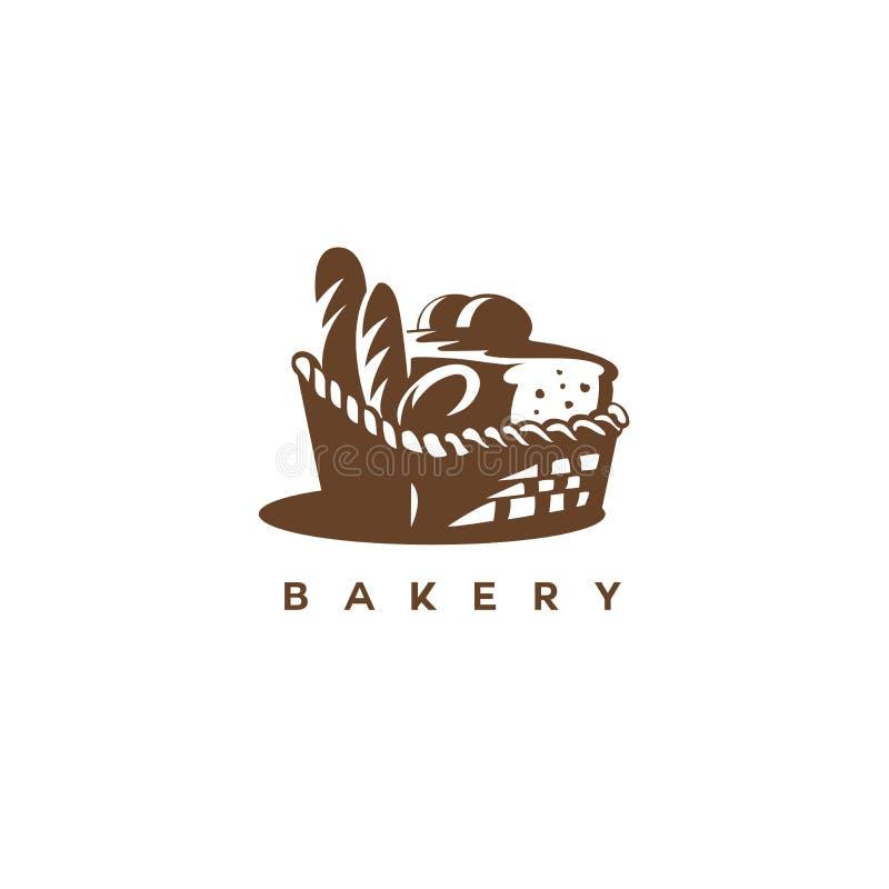 Brown-Korb mit Brotvektorillustration lizenzfreie abbildung
