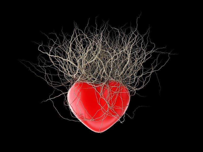 Brown korzenie rośli z czerwonego serca w czarnym tle, ilustracja wektor