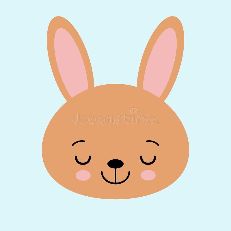 Brown kr?lika kr?lik ?mieszna kierownicza twarz Duzi ucho ?liczny kawaii posta? z kresk?wki Dziecka kartka z pozdrowieniami szabl ilustracja wektor