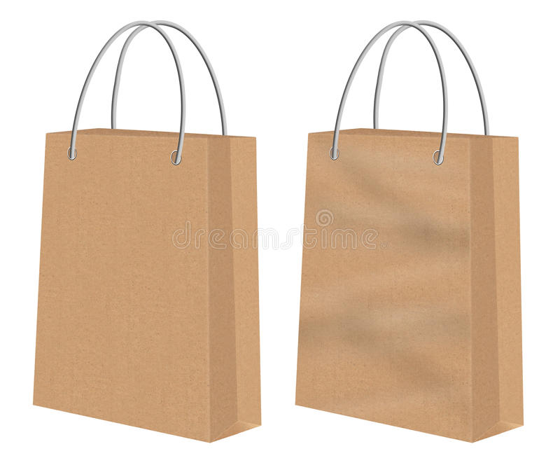 Brown kraft shopping paper bags. Plain brown Kraft shopping paper bags -one smooth the other creased or with chasms. Image isolated on white background royalty free illustration