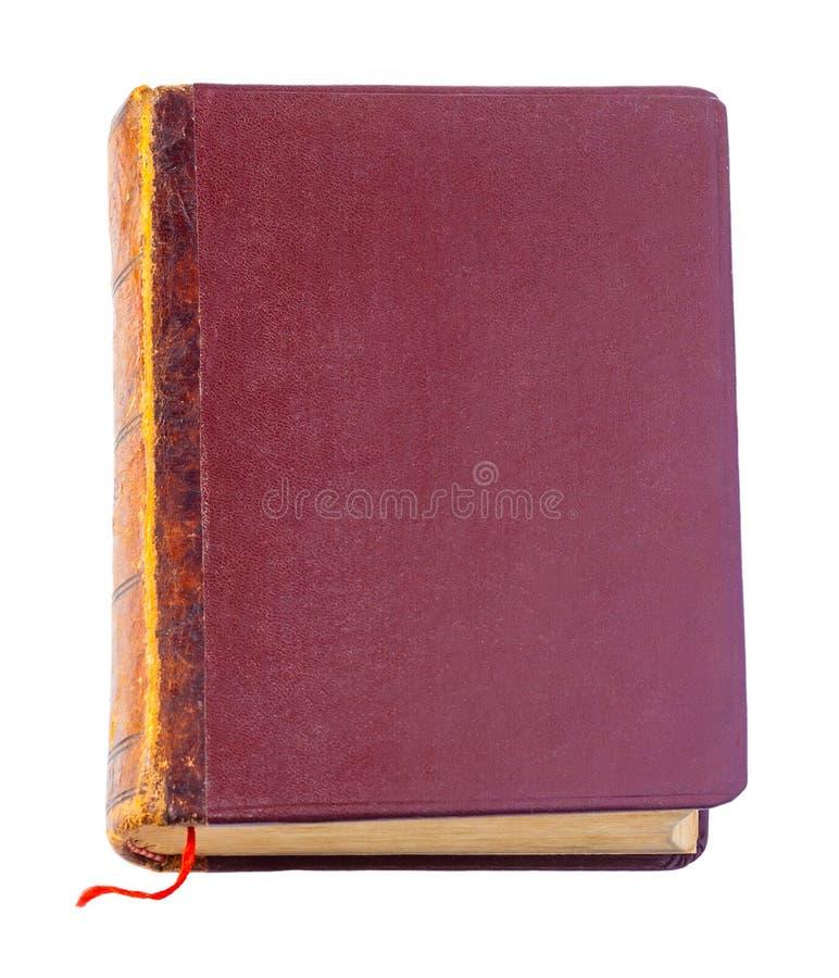Brown książka z czerwonym bookmark odizolowywającym na bielu obraz stock