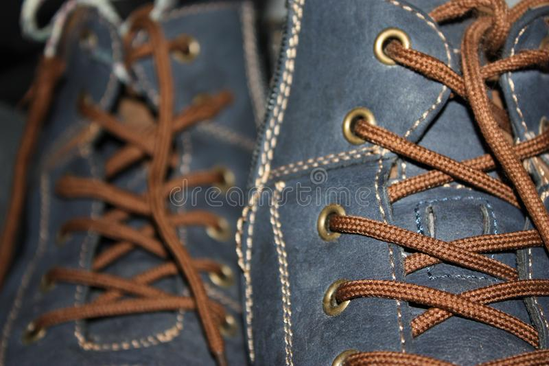 Brown laces on the blue shoes. Close-up royalty free stock image