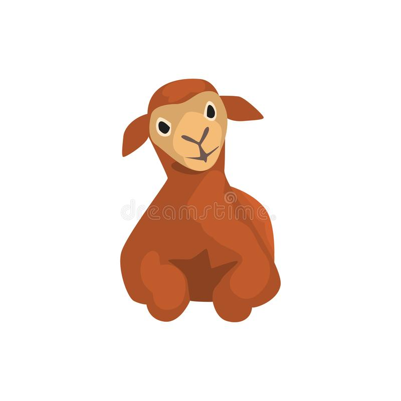 Brown lamb lying, cute farm animal front view vector Illustration on a white background. Brown lamb lying, cute farm animal front view vector Illustration vector illustration