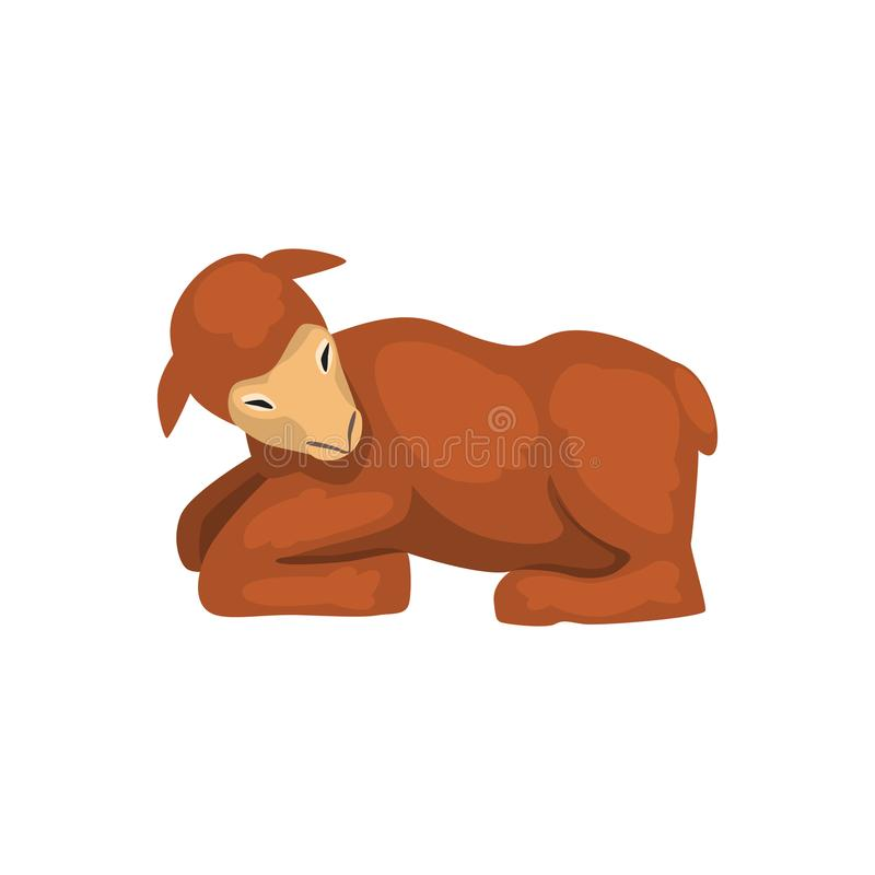 Brown lamb lying, cute farm animal side view vector Illustration isolated on a white background.  stock illustration