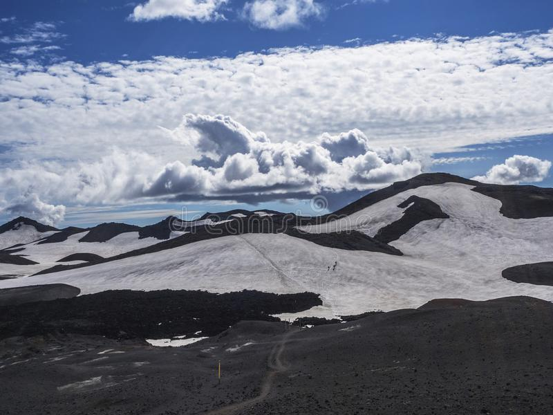 Brown lava fields and hiking trail around the volcano Eyjafjallajokull. Iceland royalty free stock photo